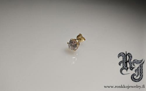 Gold earring, 6mm cubic zirconia